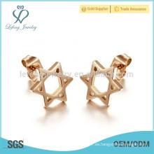 Nuevo diseño simple pendiente de la estrella, pendiente de oro rosa