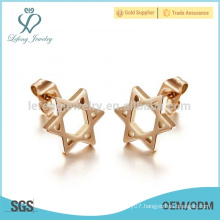New simple star earring design,rose gold earring