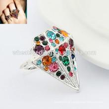 Moda ajustável anel de diamante único indiano anéis de noivado
