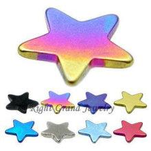 Casquillo de acero anodizado Rainbow Star 316L anodizado