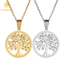 Simple Personality Micro-inlaid Zircon Pendant Stainless Steel Tree Of Life Sweater Chain
