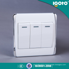 Igoto New Style Biritish Standard Chorming Frame 3gang Wall Switches