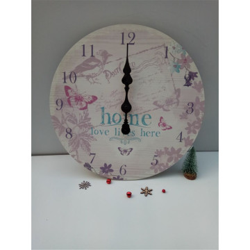Round Printing Wooden Clock Hnging