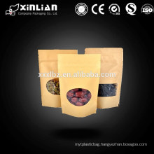 Doypack kraft paper packaging bag With window