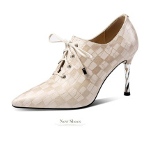 Up Office Girl Dress Elegant Croco Leather Shoes Pointed Toe Lace for Lady