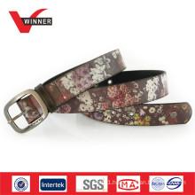 Branded flower printed pu belt for men