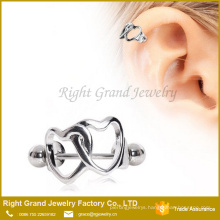 Fashion Silver Plated Double Heart Cartilage Helix Ear Cuff