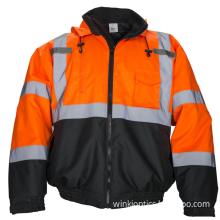 Hi Vis Bomber Safety Work Jacket Coat Hood Workwear