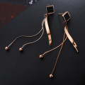 Rose Gold Ladies Terbaru Fancy Long Earrings
