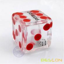 Special Double Transparent Plastic Empty Hollow Dice with 2pcs Tiny Dice Inside