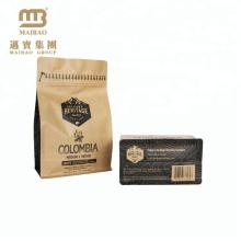 Square Bottom Food Packaging Zip Lock Custom Print Kraft Paper Coffee Bags Valve With Side Gusset