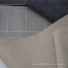 Grey check wool silk blended fabric for winter coat