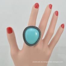 VAGULA 2016 moda plata galjanoplastia turquesa anillo de dedo