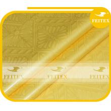 Tissu jaune jacquard africain FEITEX brocade de guinée damassé shadda teinté au détail