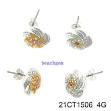 Joias - brincos de prata de CZ (21CT 1506)