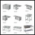 المطبخ الفولاذ المقاوم للصدأ بالوعة جدول العمل