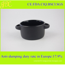 Outside Matt Black Double Holders Bowl, Ceramic Soup Bowl for Wholesale