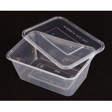 Recipiente de comida rectangular plástico disponible de los PP de la microonda clara del precio de fábrica