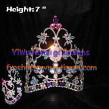 7inch AB Crystal Diamond Pageant Crowns