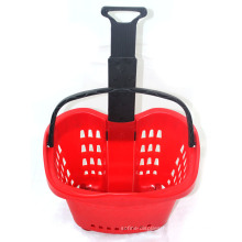 Hot Sale Rolling Plastic Shopping Basket for Supermarket Mall
