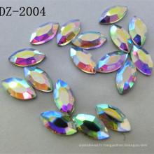 4 * 8mm Navette Crystal Hot Fix strass dans la couleur Ab