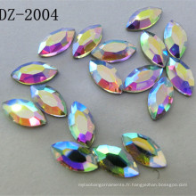 4 * 8mm Navette Crystal Hot Fix strass dans la couleur Ab