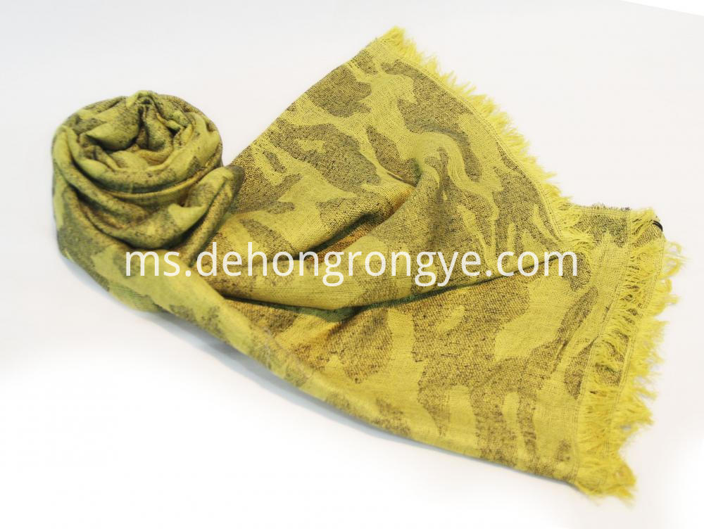 Yellow Worsted Jacquard Camouflage Cape