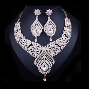 Fashion Alloy Crystal Party Princess Necklace Set