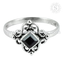Stunning Fashion Jewelry Black Onyx Gemstone Ring Sterling Silver Jewelry Exporter