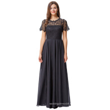 Kate Kasin de manga corta de encaje de gasa negro vestido de fiesta vestido de fiesta de baile KK001010-1