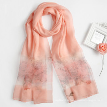 2017 New design women neckerware shawls digital printed silk viscose blended pashmina scarf