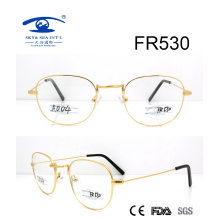 Round Shape Gold Metal Optical Frame (FR530)