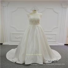 Vestido de novia de encaje satinado con nueva tela abalorios