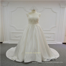 Satin Lace Wedding Dress Made with New Beading Fabric