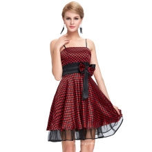 Starzz 2016 New Design Sexy Spaghetti Straps Polka Dots Satin Short Black Red Cheap Cocktail Dress ST000087-1
