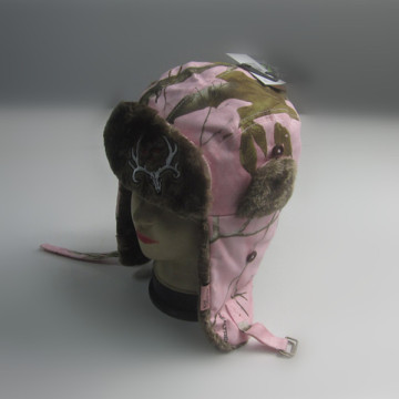 Pink Cotton/Polyester Print Trapper Hat