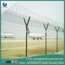 Airport fence with spiral razor barbed wire fence Y post welded airport security fence
