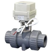 Válvula de esfera do PVC do PVC do controle elétrico do fluxo de 2 maneiras Válvula de PVC da água motorizada com CE (A100-T32-P2-C)