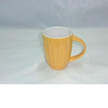 9oz vertical strips ceramic mug with spoon for BS120423B