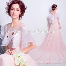 2017 hasta el suelo elegante rosa cisne de seda formal vestidos de noche vestido de noche de fiesta rosa vestido de señora anfitrión