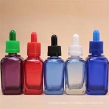 Bouteilles de verre colorées carrées pour l'huile essentielle, pot cosmétique