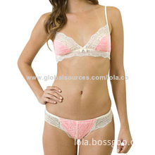 Women's Sexy Lacy Bra Set, Made of Nylon/Spandex, Various Designs and Colors are Available