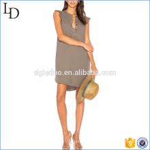 Women Summer v neck dress latest casual fashion cap sleeve dress