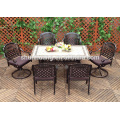 Black cast aluminum beach furniture chairs outdoor dining sets