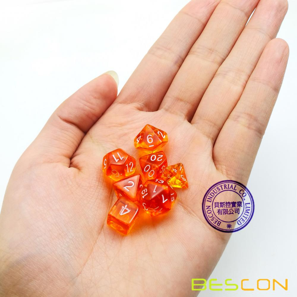 Bescon Mini Translucent Polyhedral Rpg Dice Set 10mm