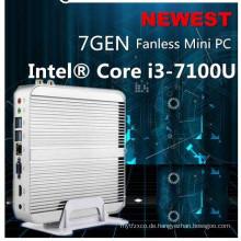 Beste 7th Generation Fanless Mini-PC-Kern I5 7200u I3 7100u Intel HD Graphics620 14 Nm Wind10 Barebone 4k HTPC Mini-Desktop