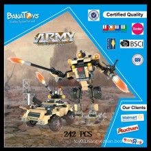 Special Offer! Hot item plastic children block toy 2in1 army truck and robot blocks toys block