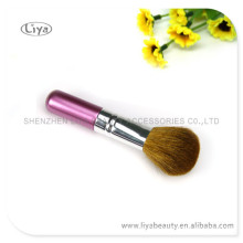 Wooden handle comestic powder brush with brass ferrule