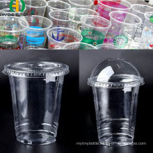 Disposable Pet Plastic Cup with Flat Lid Dome Cover