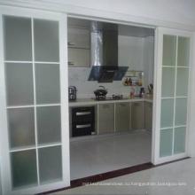 Бесшумная двойная закаленная стеклянная алюминиевая раздвижная дверь для кухни